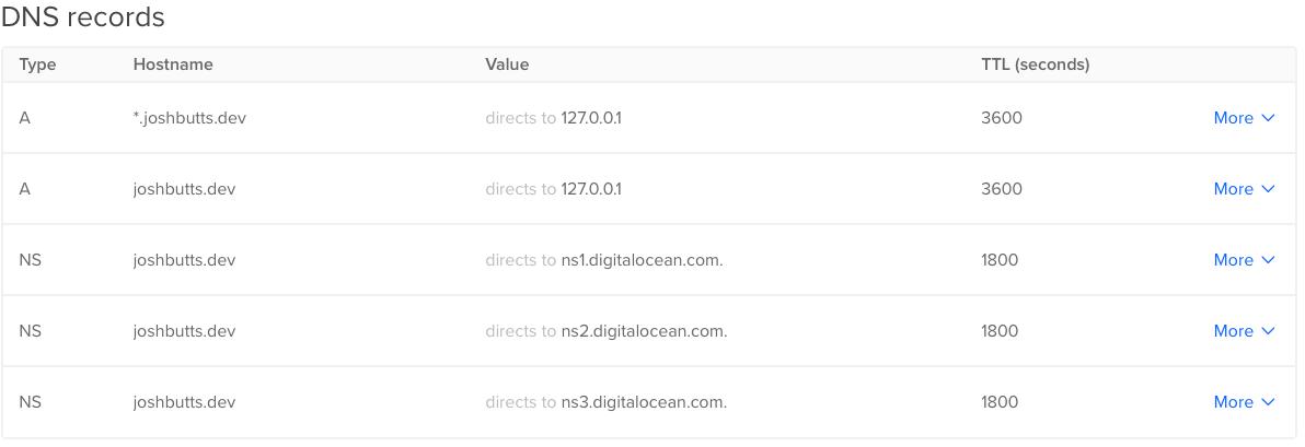 Digital Ocean local resolution DNS example